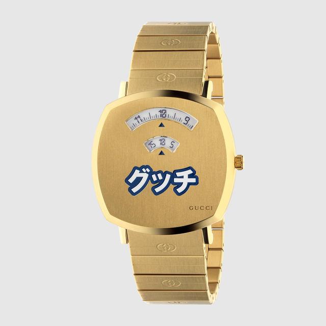 """カタカナで""""グッチ""""と書いてあるけど本物です! GUCCIが腕時計「グリップ」の日本限定ウォッチ(38mm)を発売~253,000円。イエローゴールドPVDケースに青&白のカタカナ  - ネタとぴ"""